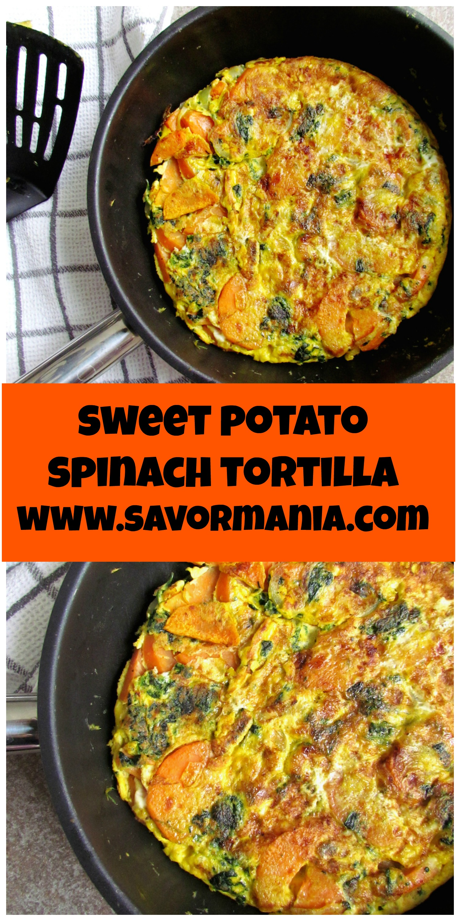 sweet potato and spinach tortilla | Savormania